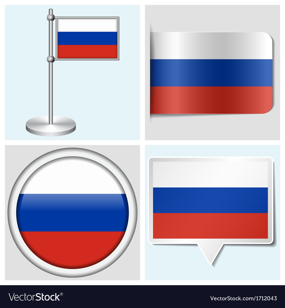 Russia flag - sticker button label flagstaff vector | Price: 1 Credit (USD $1)