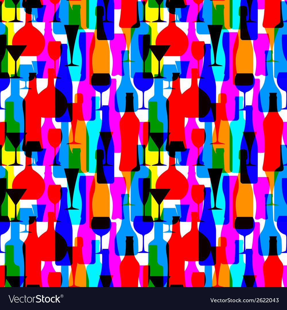 Seamless background with colorful bottles vector | Price: 1 Credit (USD $1)
