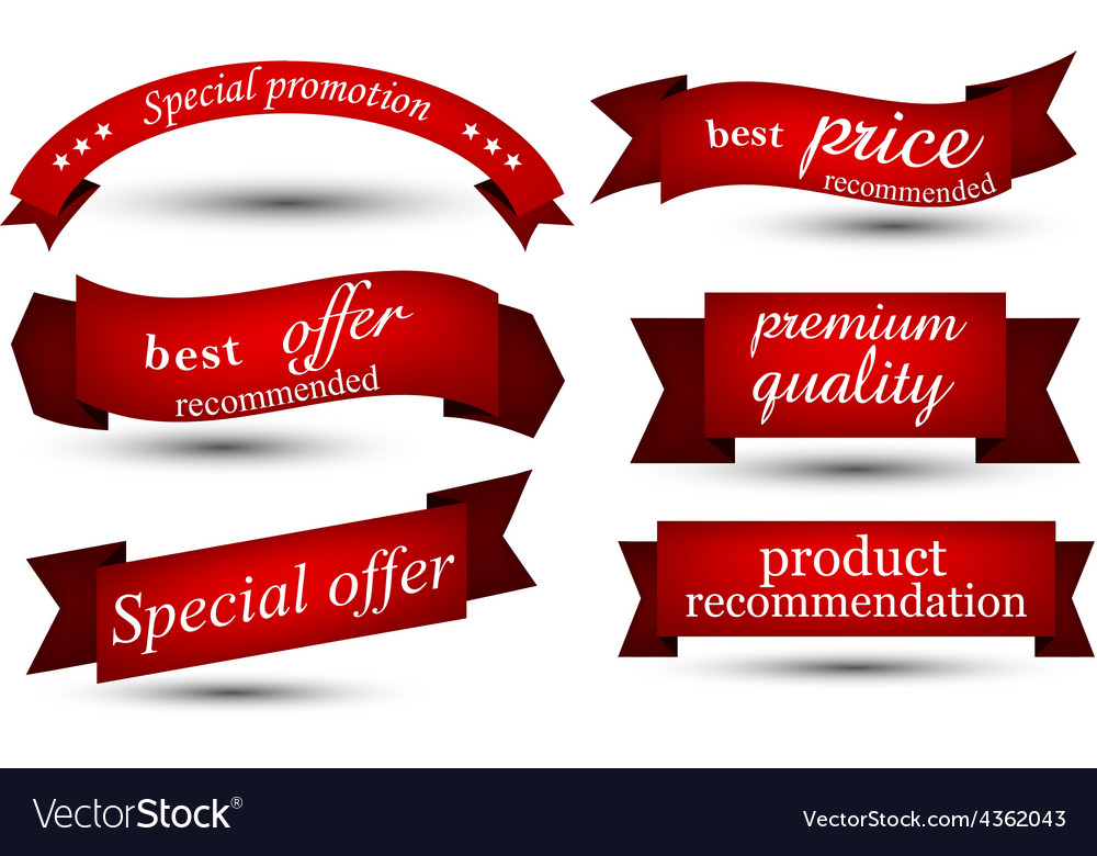 Set of red ribbons vector | Price: 1 Credit (USD $1)