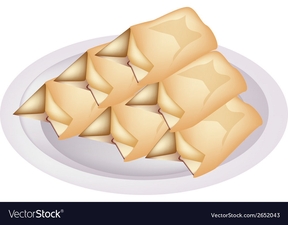Stack of cream pancake on a plate vector | Price: 1 Credit (USD $1)