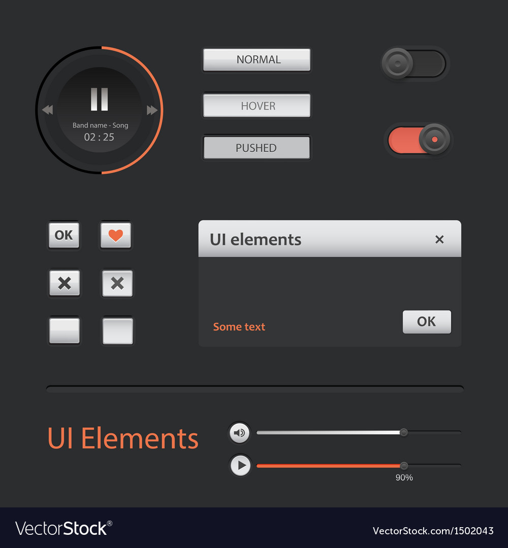 Ui web elements set vector | Price: 1 Credit (USD $1)