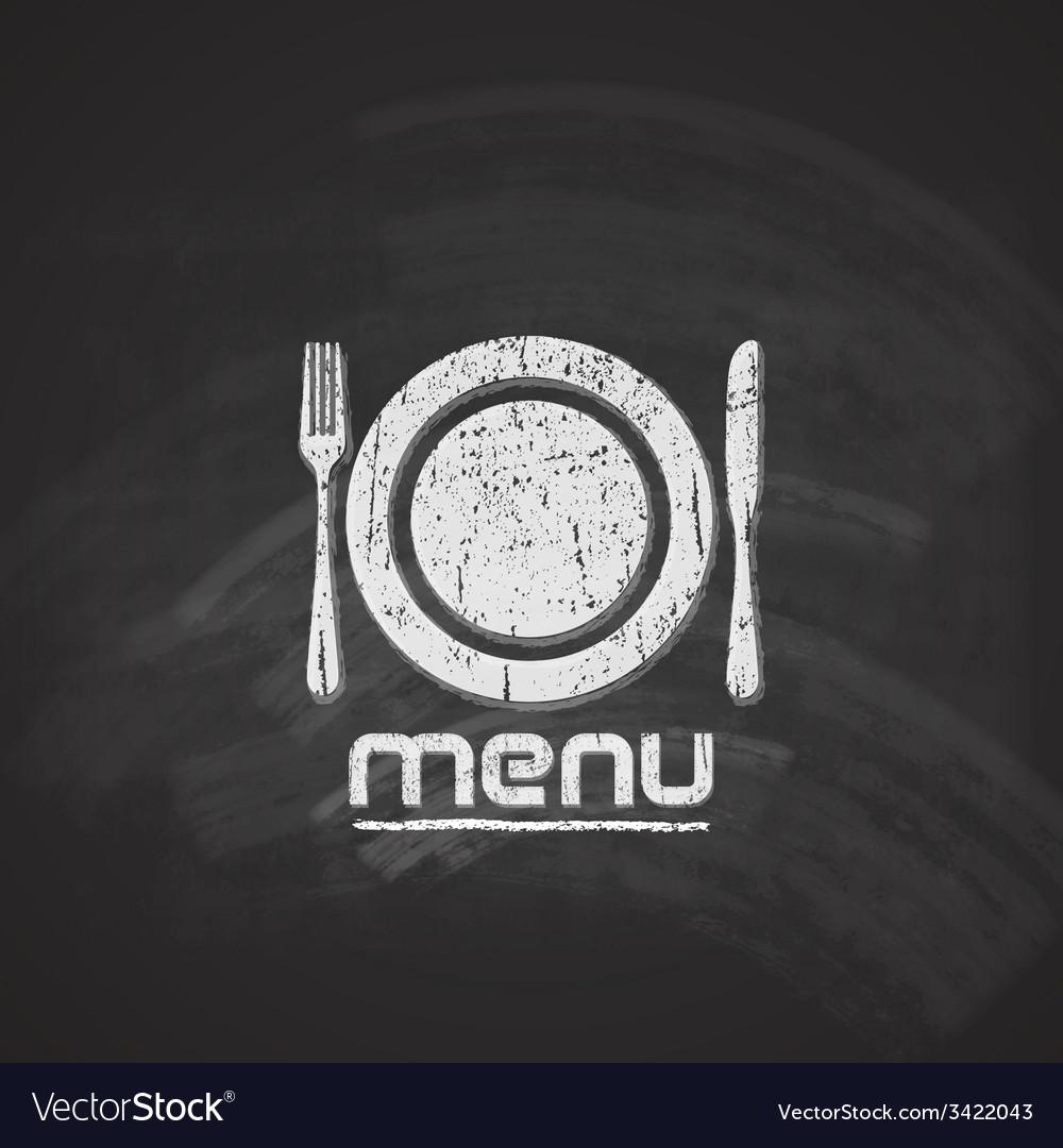 Vintage chalkboard menu design with plate fork and vector | Price: 1 Credit (USD $1)