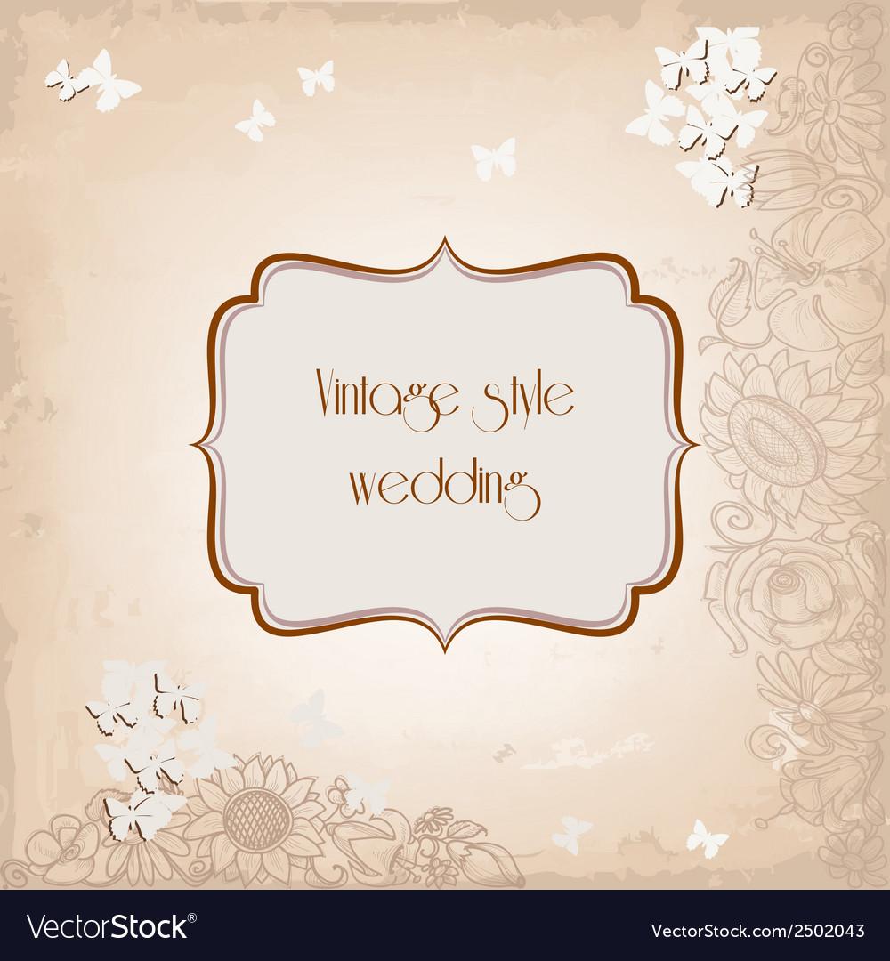 Vintage style wedding invitation old paper vector | Price: 1 Credit (USD $1)