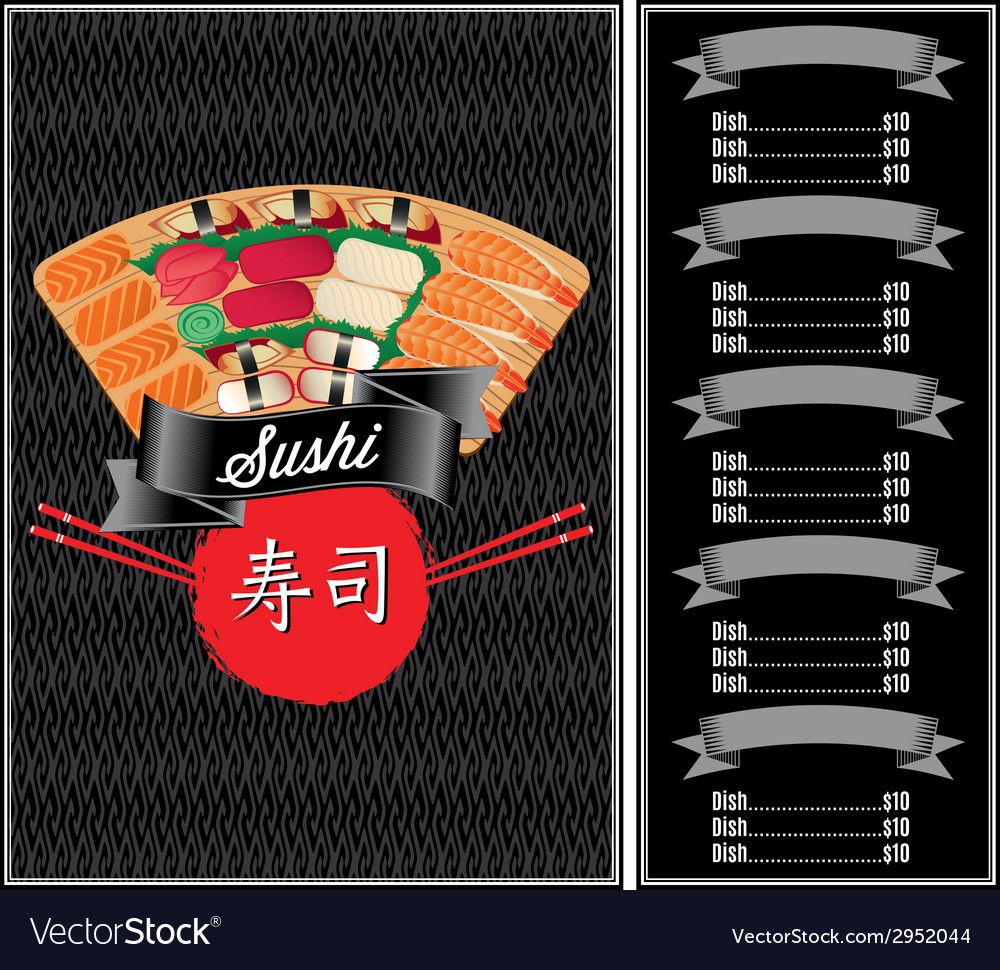 Background with seafood for sushi menu vector | Price: 1 Credit (USD $1)