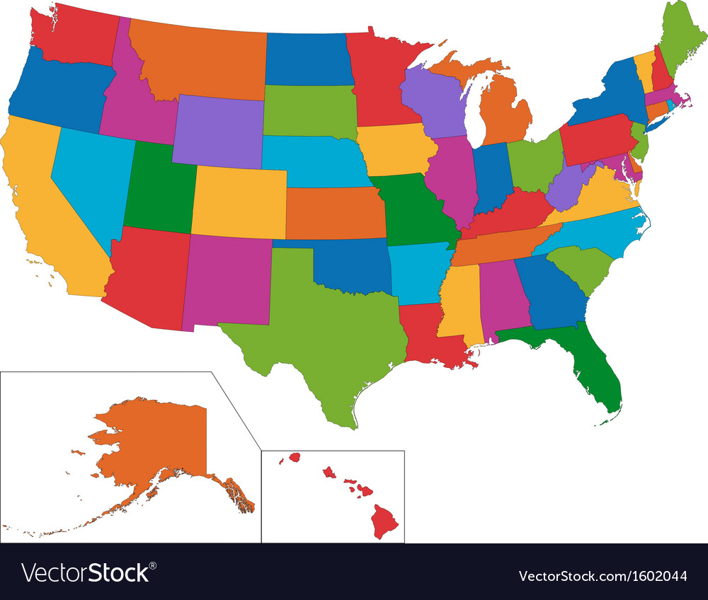 Colorful usa map vector | Price: 1 Credit (USD $1)