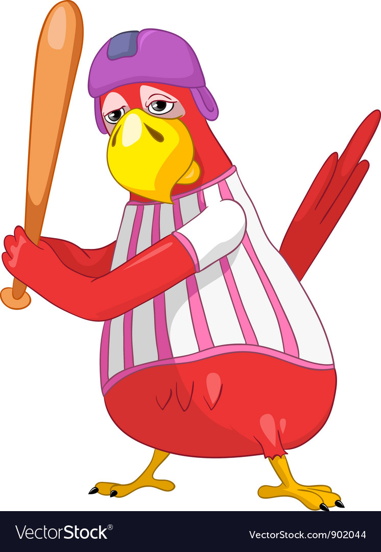 Funny parrot baseball vector   Price: 3 Credit (USD $3)