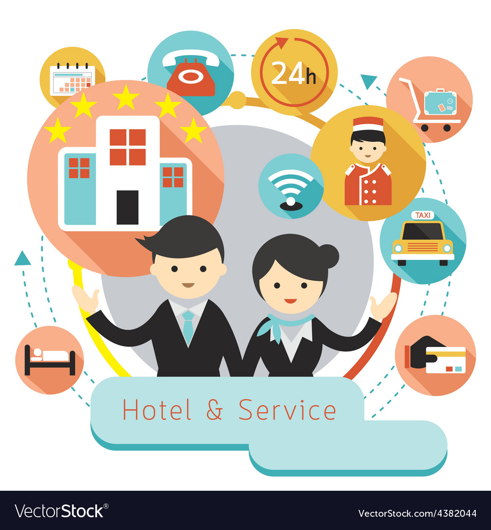 Hotel accommodation amenities services icons headi vector | Price: 1 Credit (USD $1)