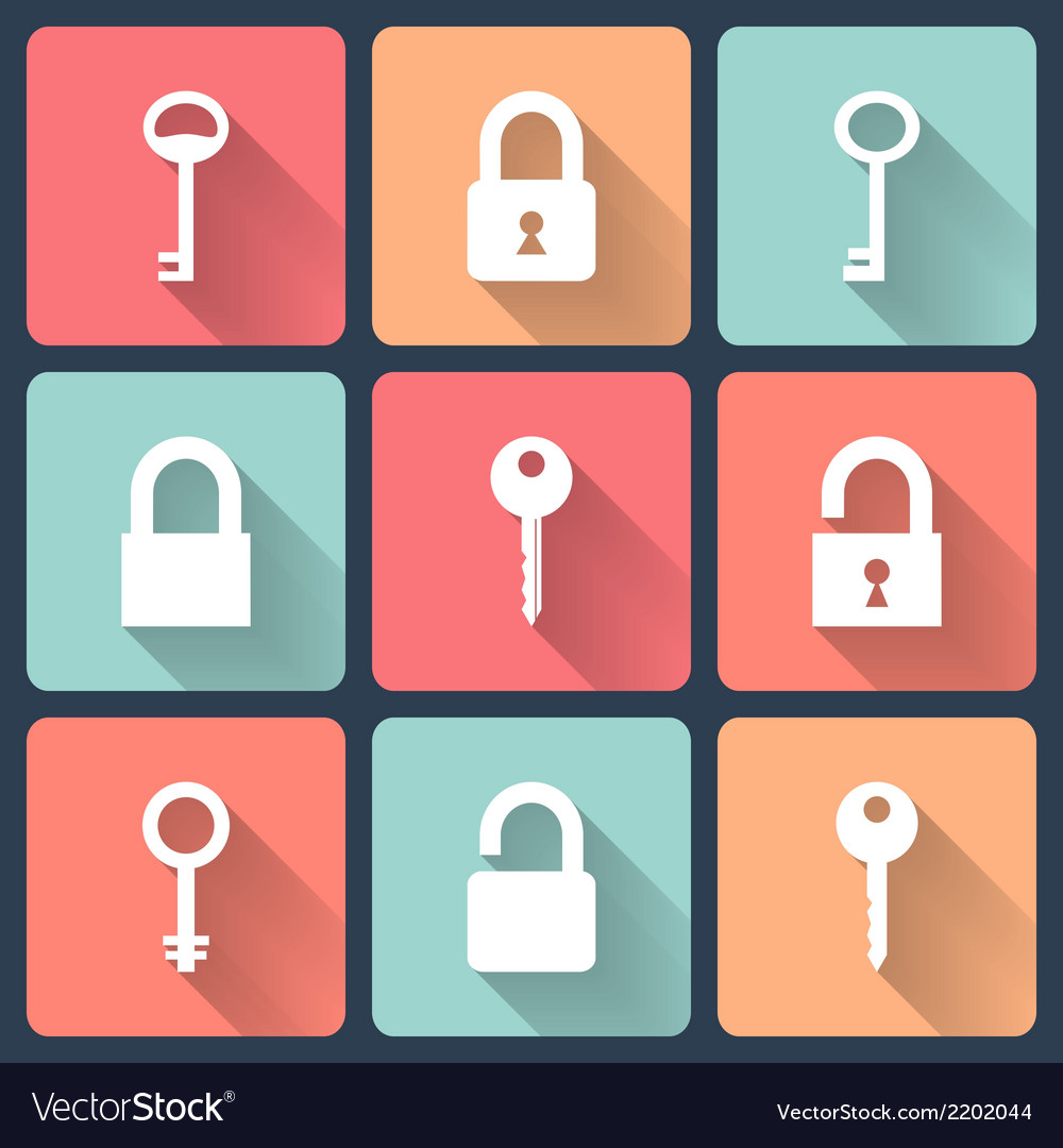 Key and padlock flat icons set vector | Price: 1 Credit (USD $1)