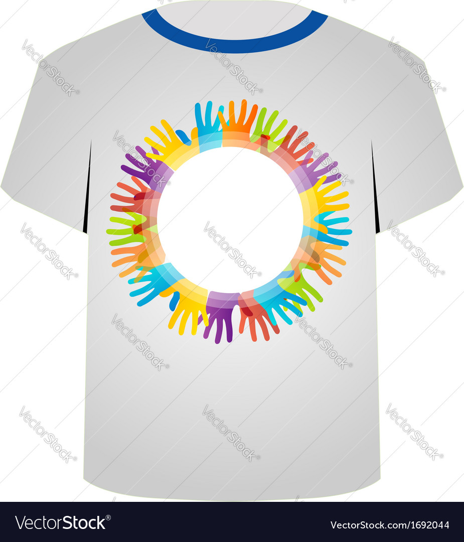 T shirt template- colorful hands vector | Price: 1 Credit (USD $1)