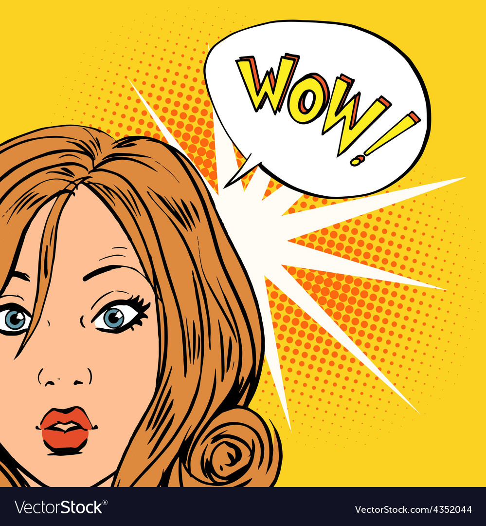 Wow surprise girls pop art comics retro style vector | Price: 1 Credit (USD $1)