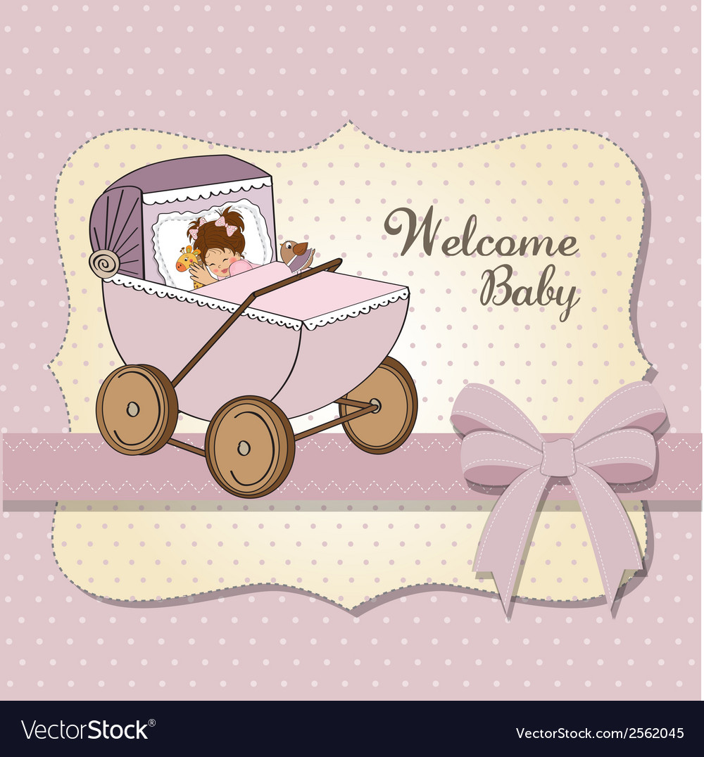 Baby girl shower card with retro strolller vector | Price: 1 Credit (USD $1)