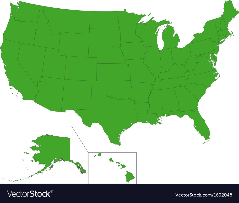 Green usa map vector | Price: 1 Credit (USD $1)