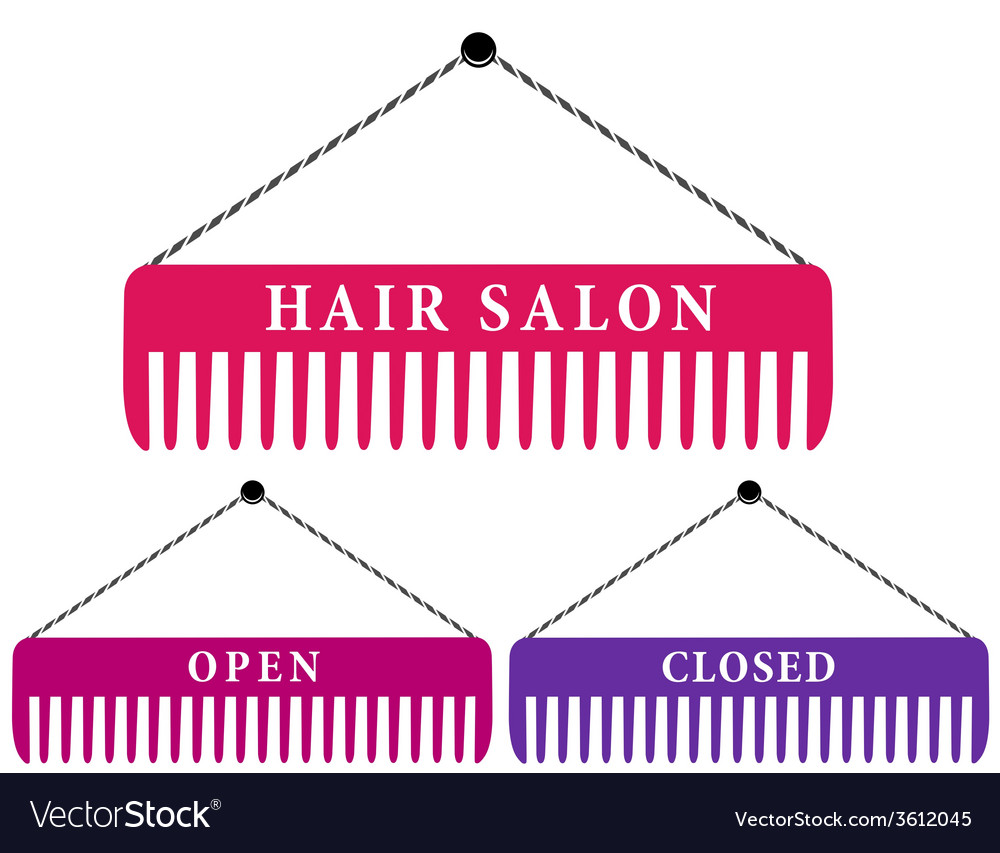 Hair salon sign with comb vector | Price: 1 Credit (USD $1)