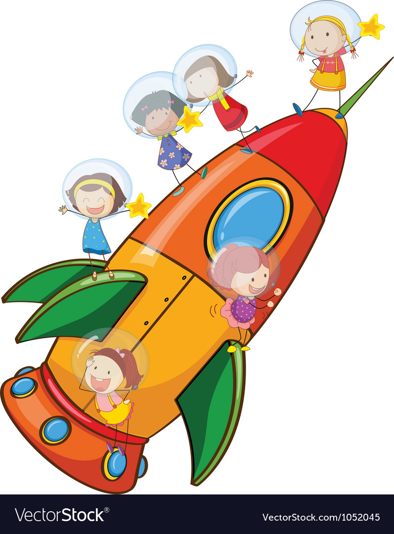 Kids on rocket vector | Price: 3 Credit (USD $3)