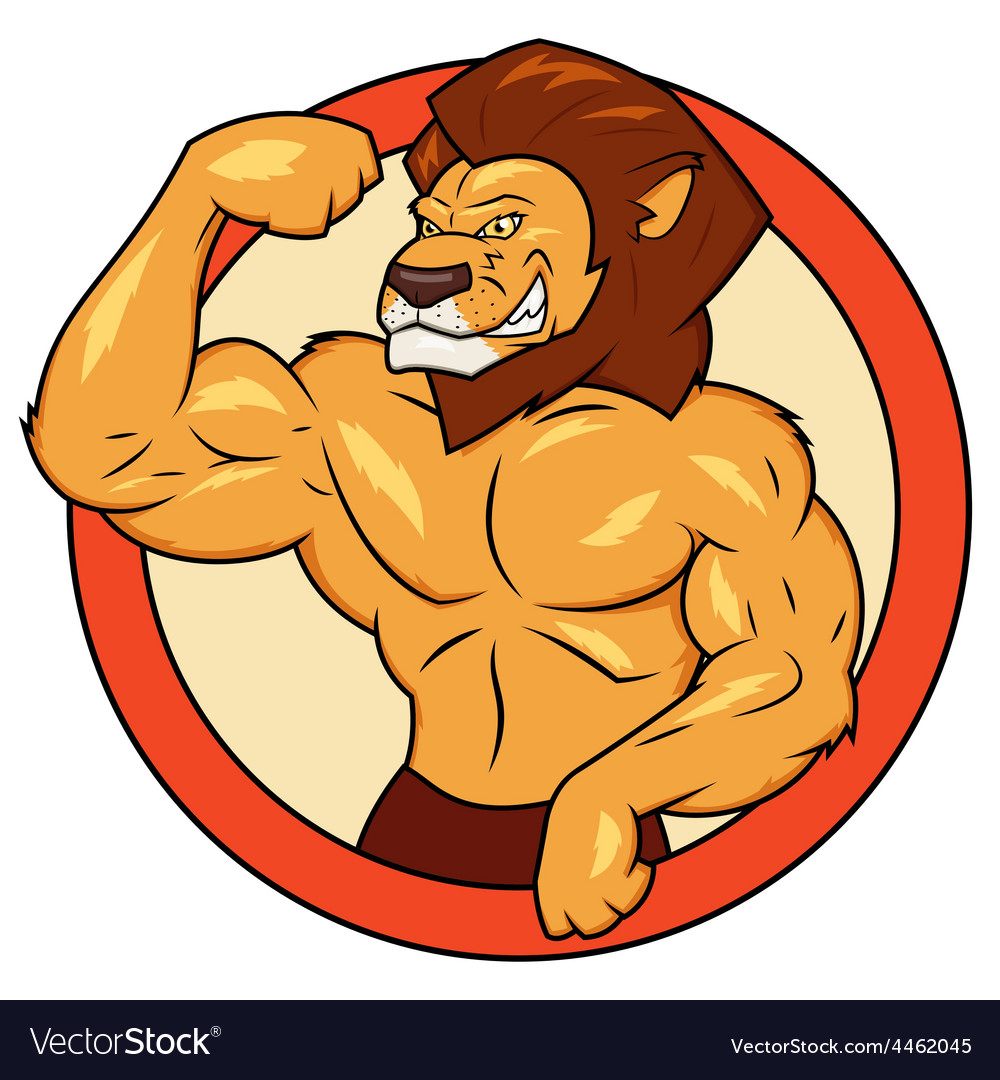 Muscular lion is posing vector | Price: 1 Credit (USD $1)