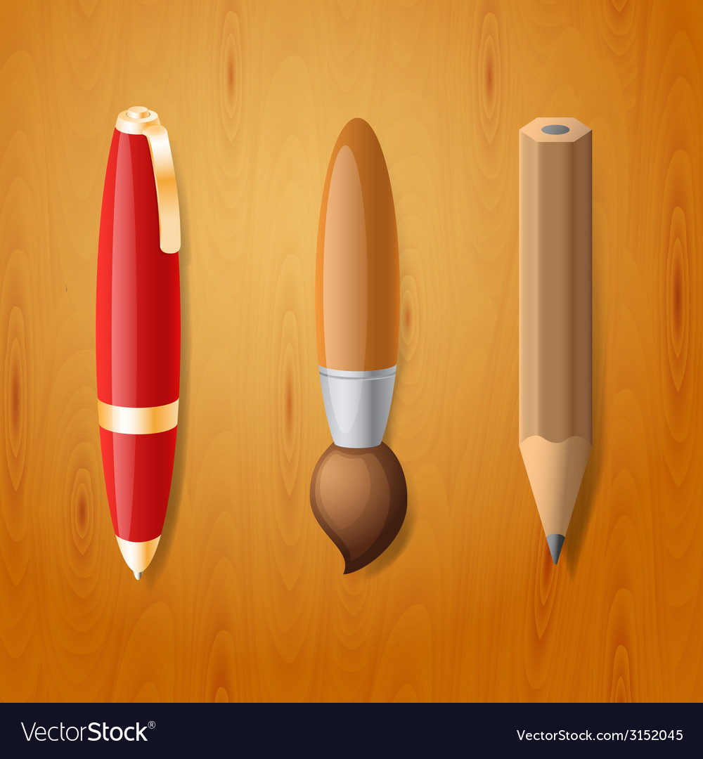 Pen pencil and brush icons vector | Price: 1 Credit (USD $1)