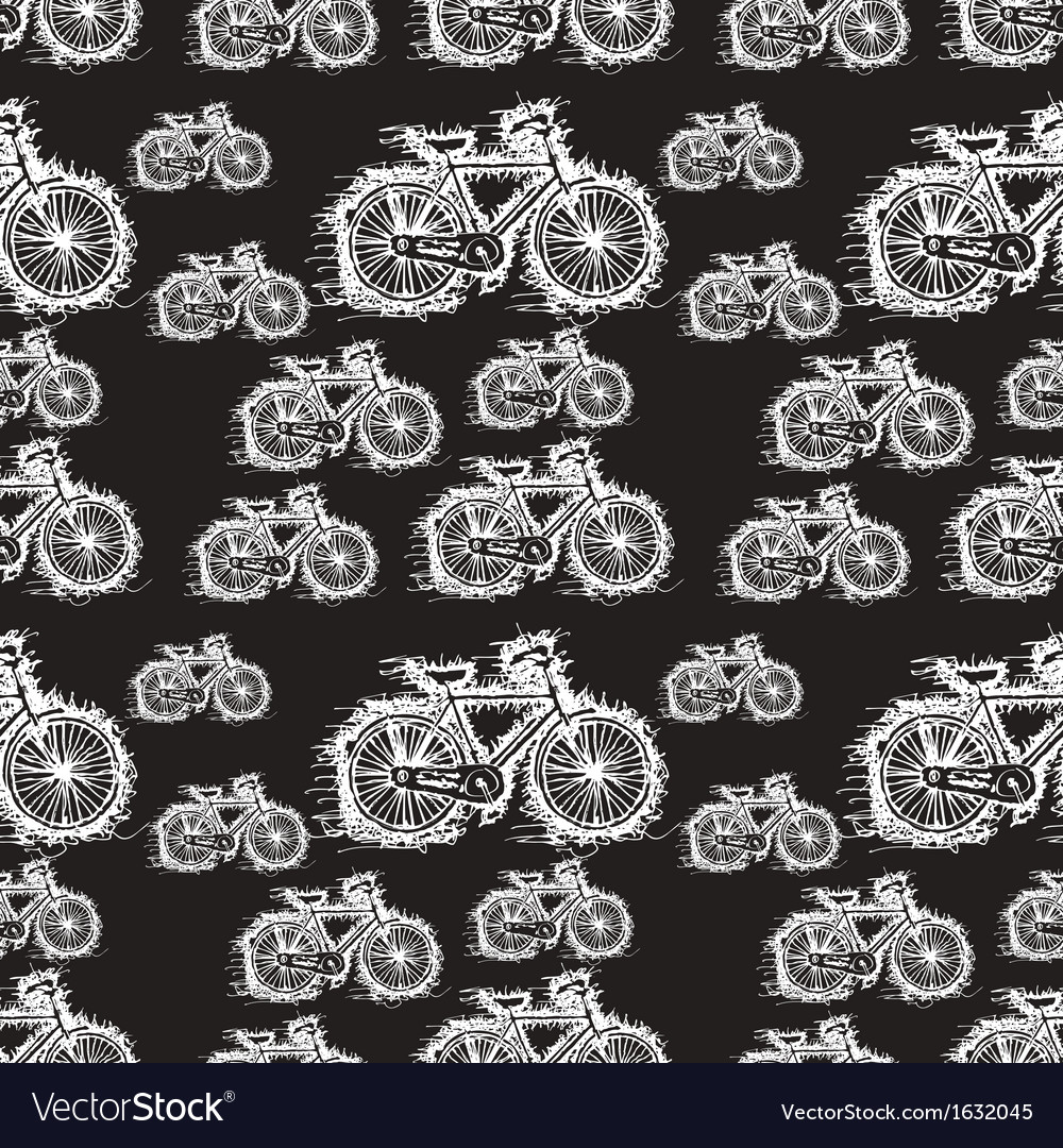 Seamless pattern of sketch white bicycle vector | Price: 1 Credit (USD $1)