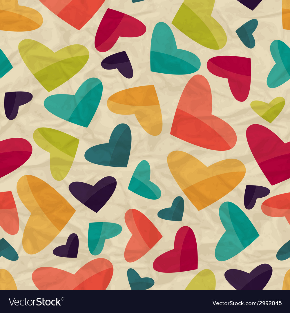 Seamless pattern with hearts on crumpled paper vector | Price: 1 Credit (USD $1)