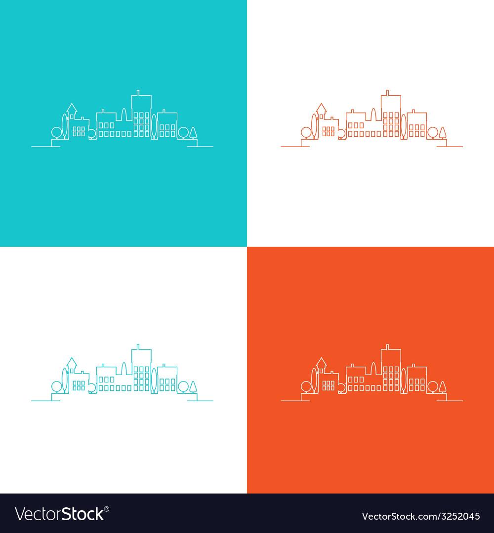 Set color contours of the urban landscape vector | Price: 1 Credit (USD $1)