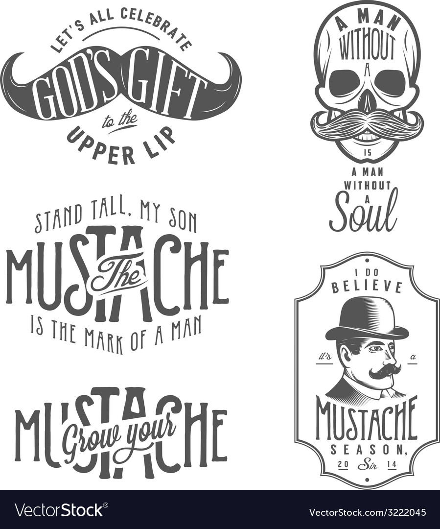Set of mustache related quotes and design elements vector | Price: 1 Credit (USD $1)