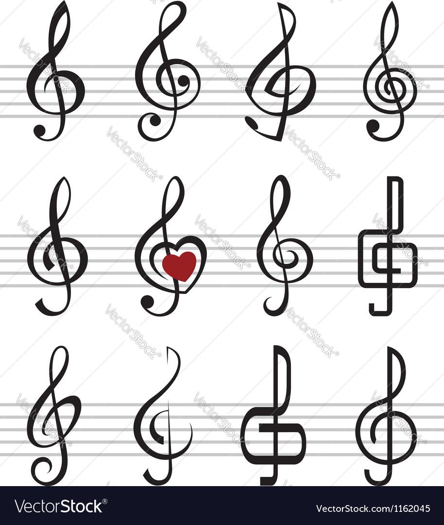 Treble clefs vector | Price: 1 Credit (USD $1)