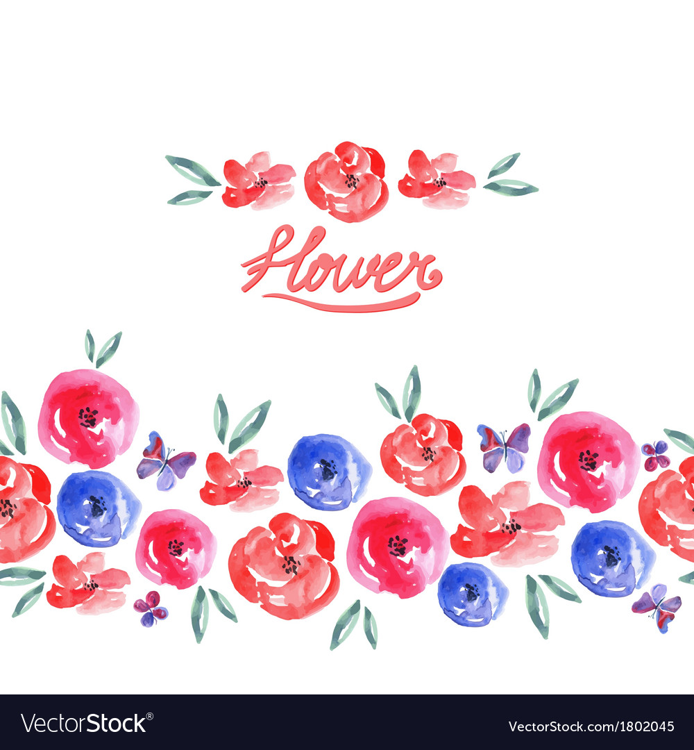Watercolor floral seamless background vector | Price: 1 Credit (USD $1)