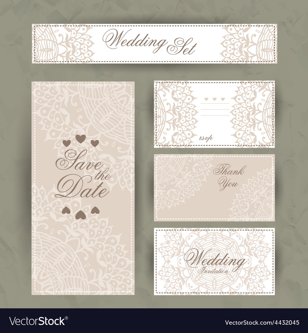 Wedding invitation thank you card save the date vector | Price: 1 Credit (USD $1)