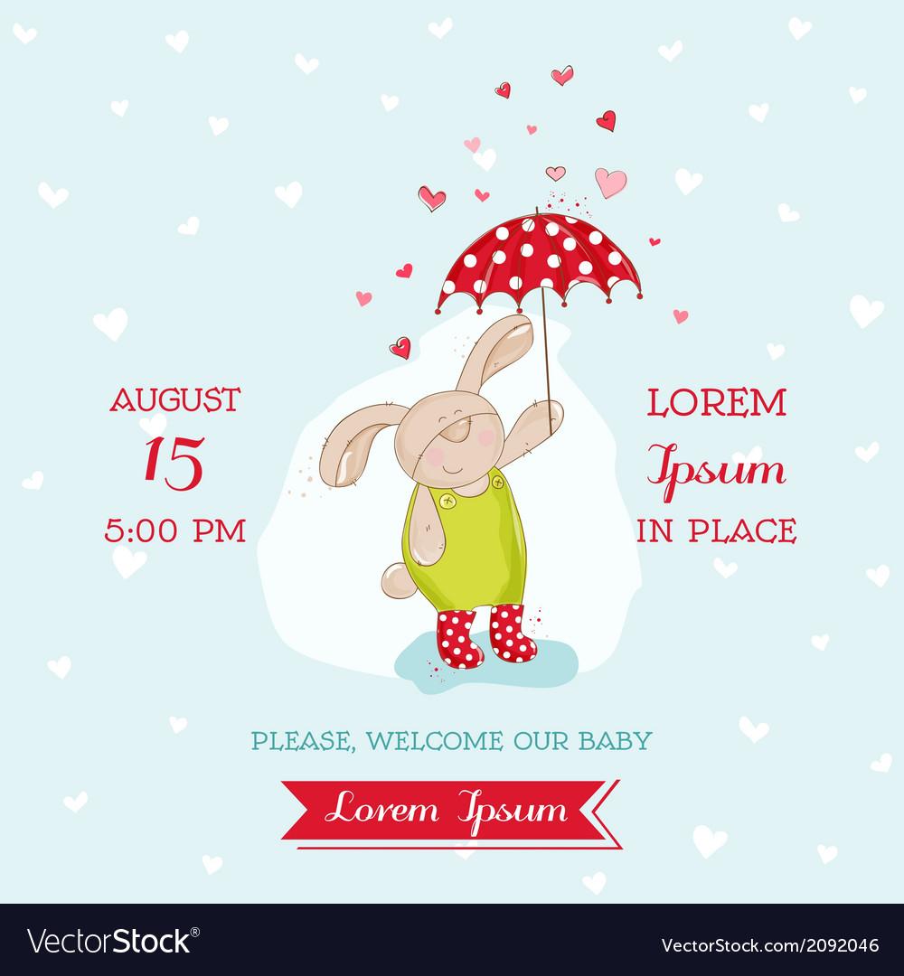 Baby shower card - bunny with umbrella vector | Price: 1 Credit (USD $1)