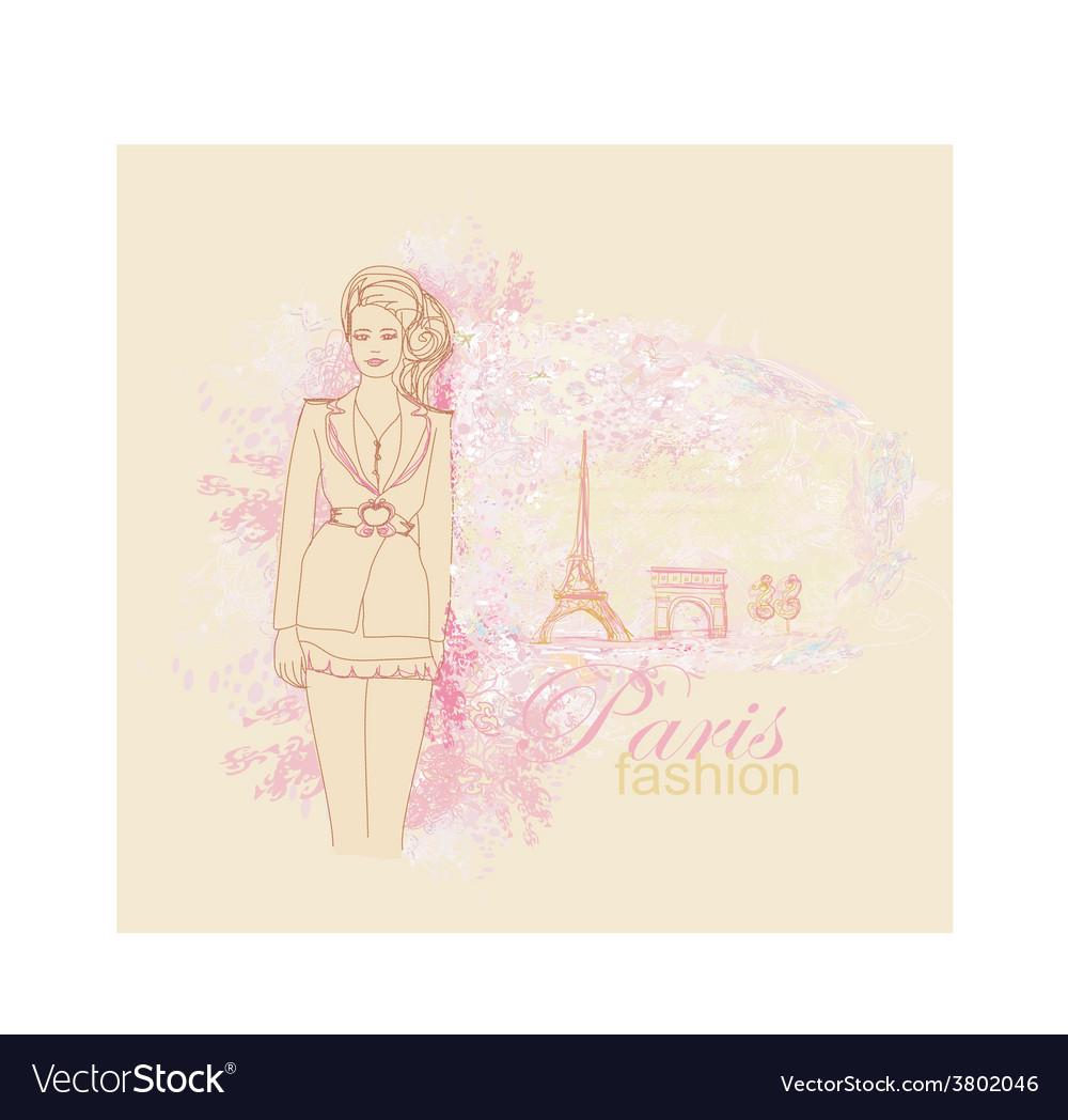 Beautiful women shopping in paris - card vector   Price: 1 Credit (USD $1)