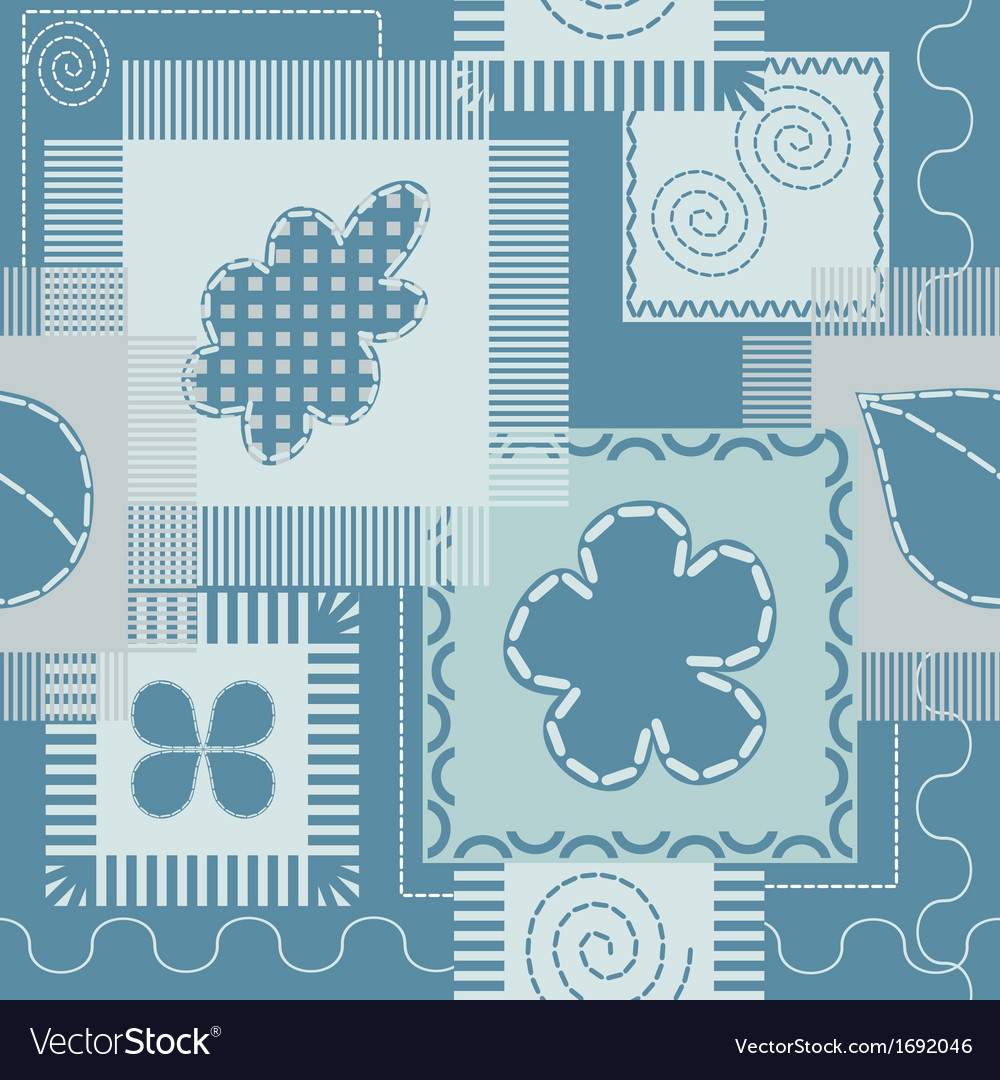 Patches and stitch seamless pattern vector | Price: 1 Credit (USD $1)