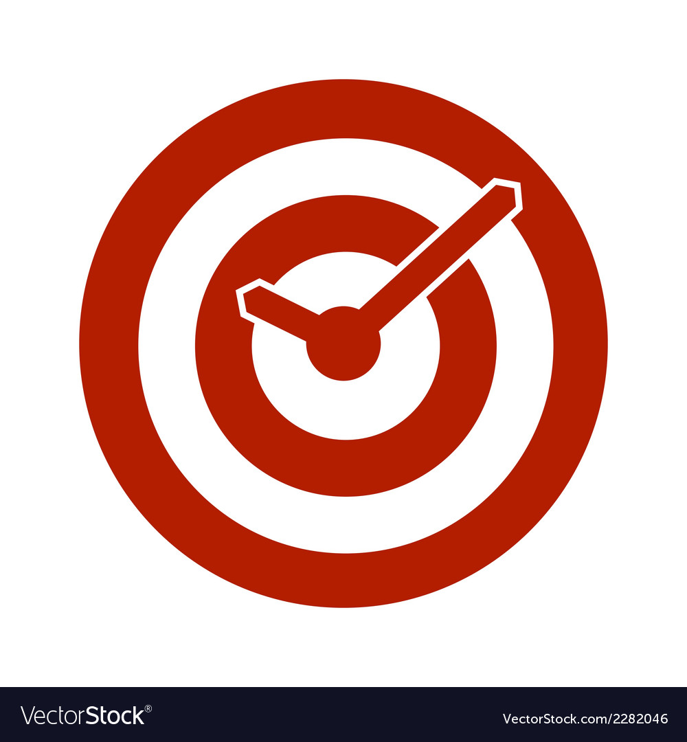 Red target conceptual clock icon vector | Price: 1 Credit (USD $1)