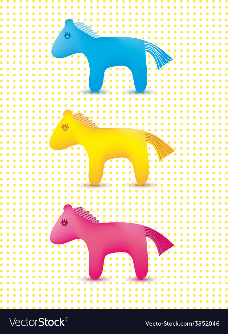 Set of colorful cute toy horses icons vector | Price: 1 Credit (USD $1)