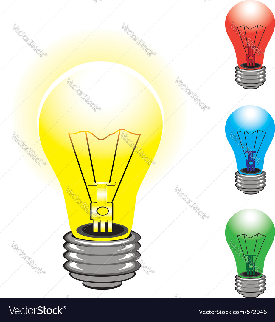 Set of colorful light bulbs on white background vector | Price: 1 Credit (USD $1)