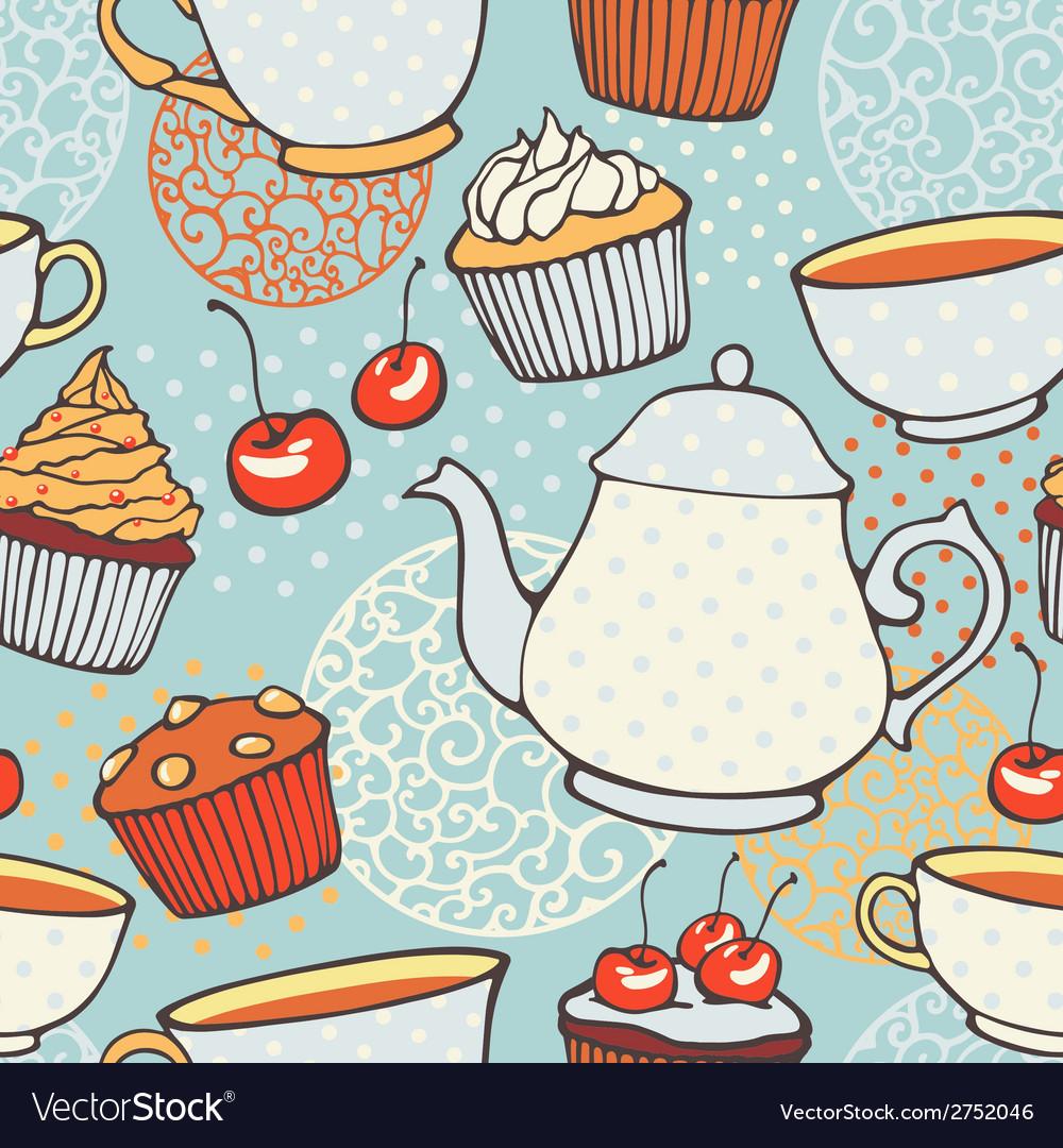 Tea time hand drawn seamless pattern decorative vector | Price: 1 Credit (USD $1)