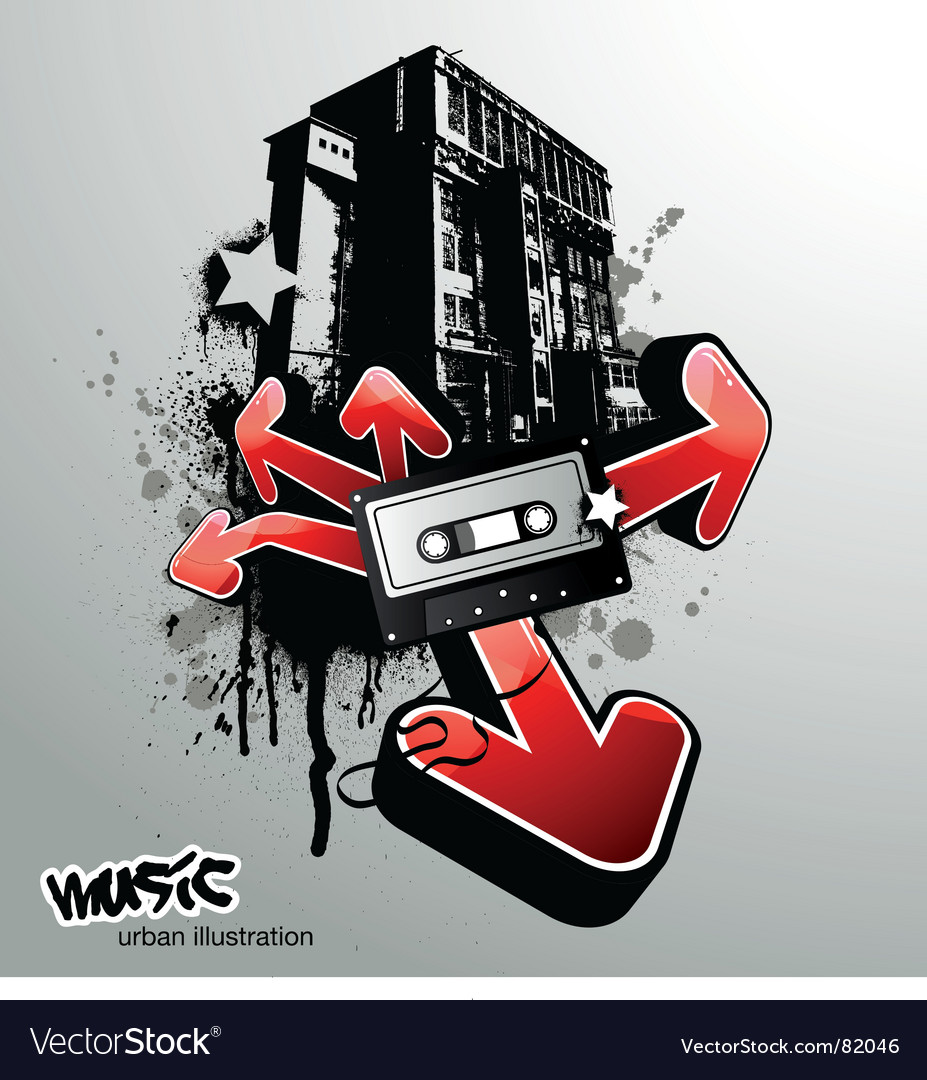 Urban music illustration vector | Price: 1 Credit (USD $1)