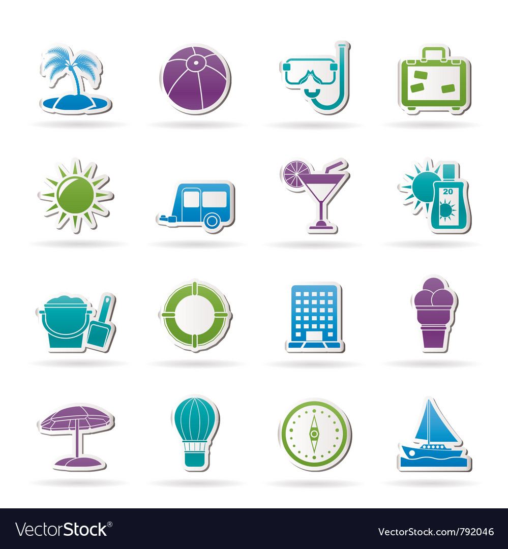Vacation and holiday icons vector | Price: 1 Credit (USD $1)