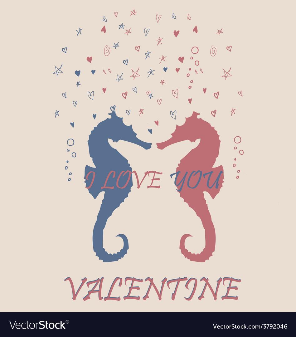 Valentine sea horse pink blue retro vintage vector | Price: 1 Credit (USD $1)