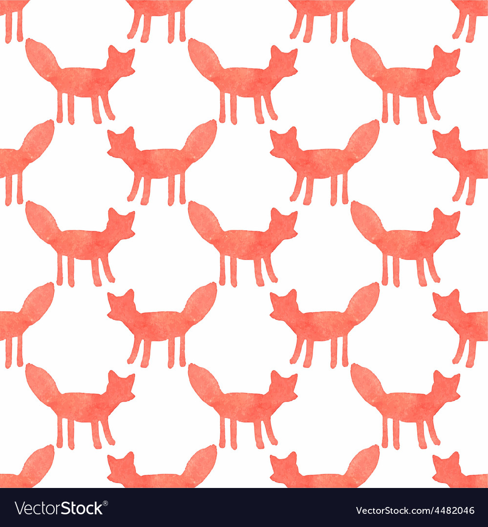 Watercolor seamless pattern with foxes on the vector | Price: 1 Credit (USD $1)