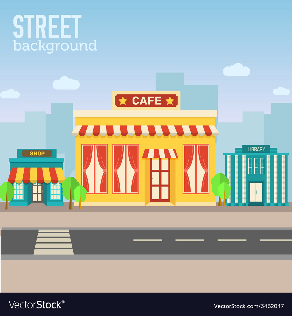 Cafe building in city space with road on flat syle vector   Price: 1 Credit (USD $1)
