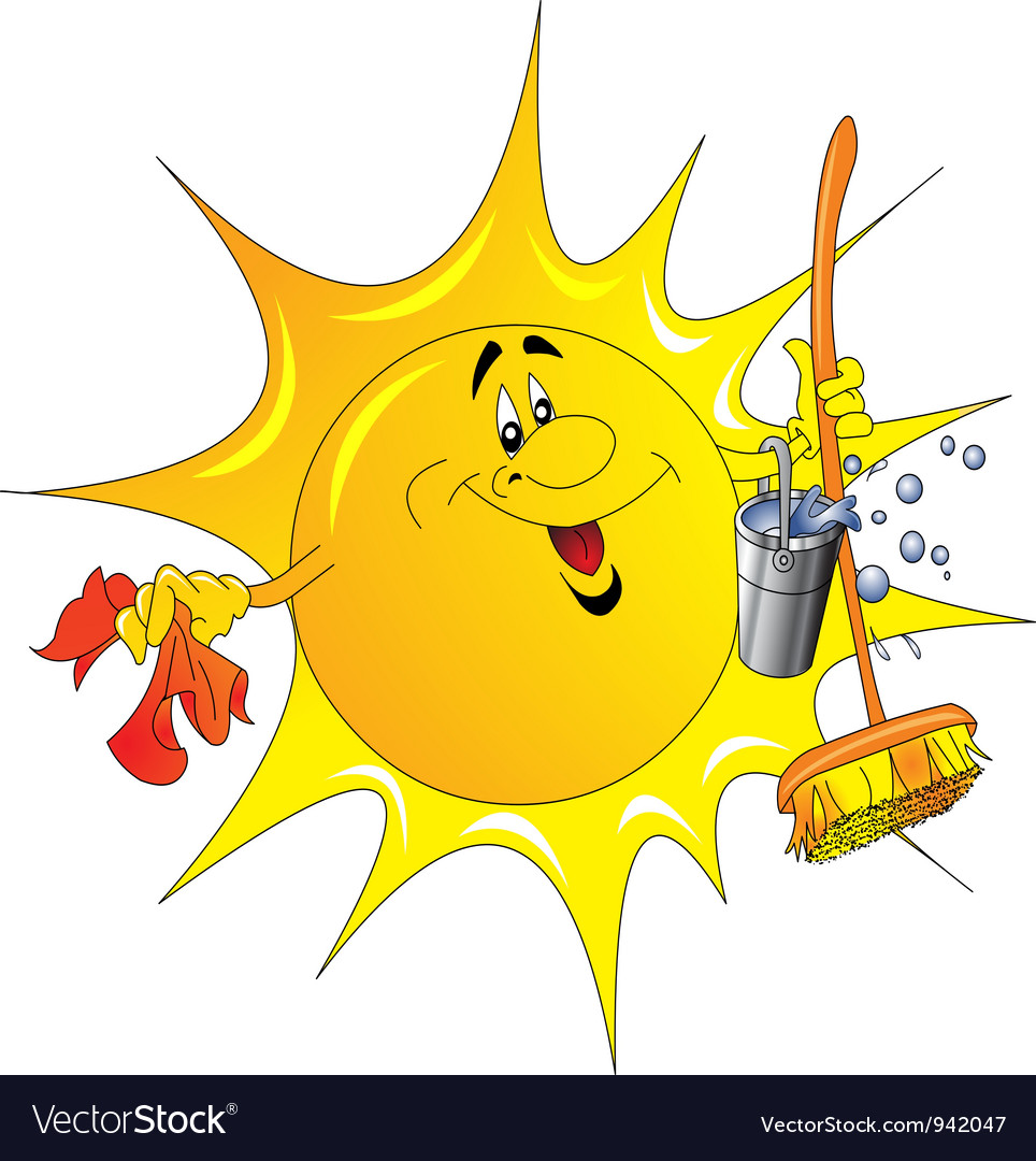 Cartoon sun cleaner vector | Price: 1 Credit (USD $1)