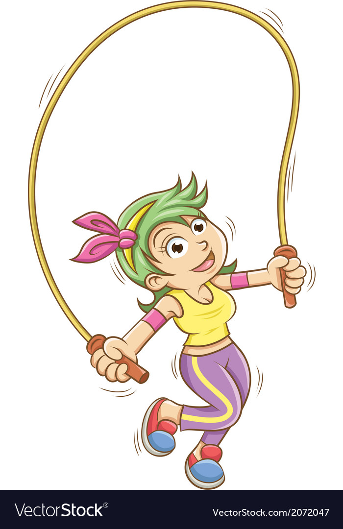 Girl playing with a skipping rope vector | Price: 1 Credit (USD $1)