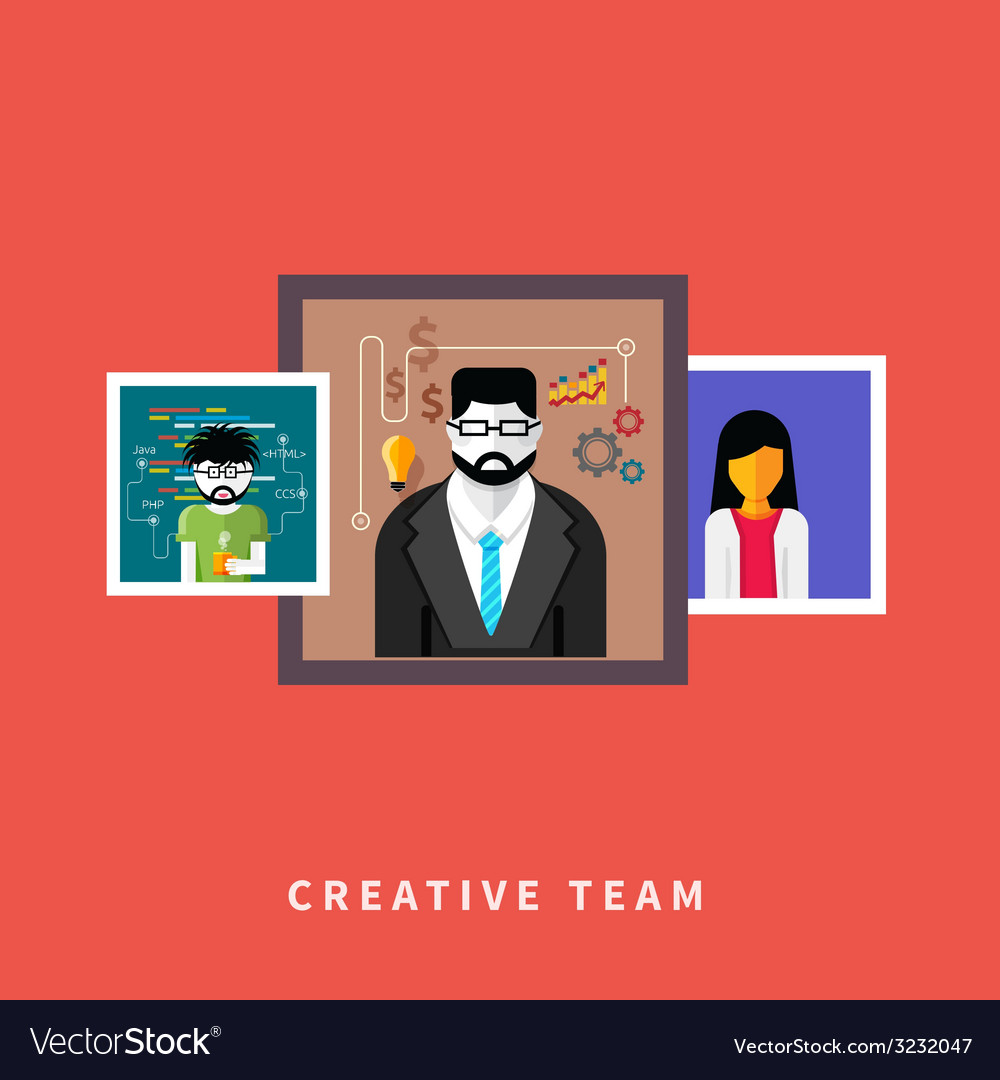 Portraits of creative team people vector | Price: 1 Credit (USD $1)