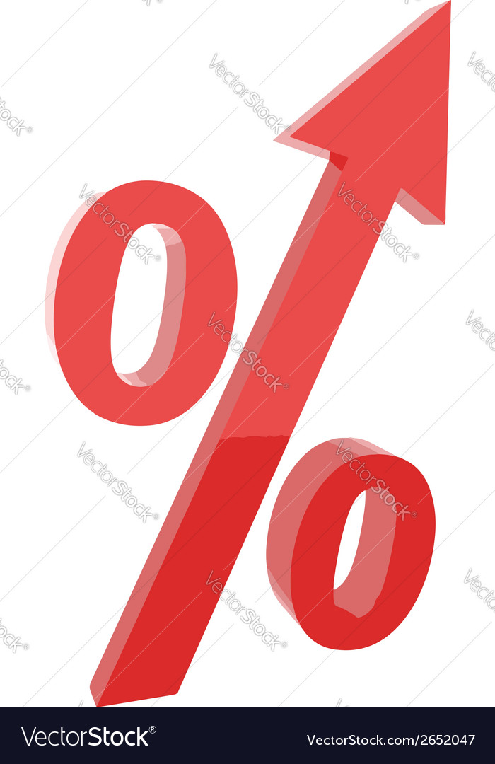 Red percentage symbol with an arrow up vector | Price: 1 Credit (USD $1)