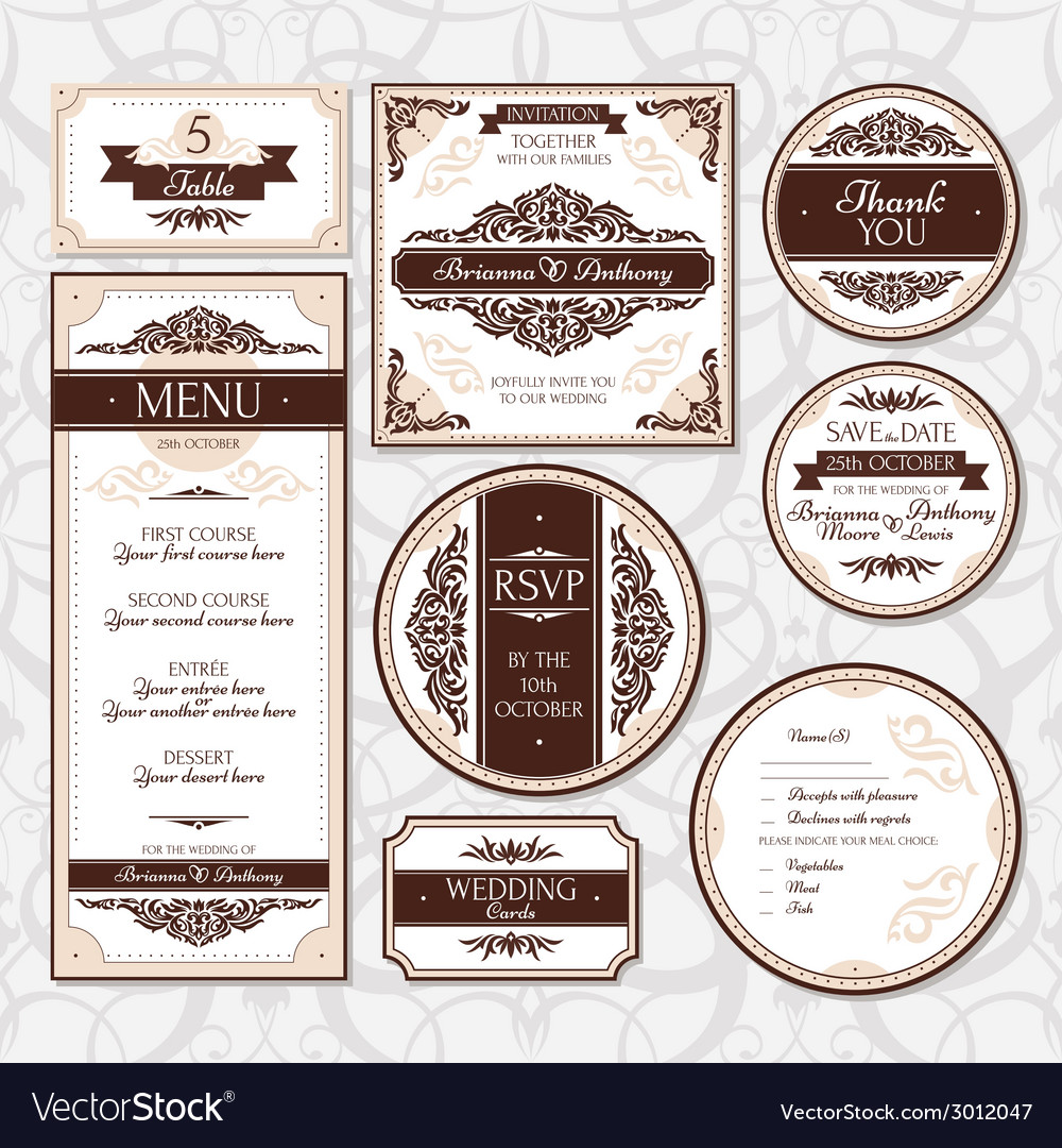 Set of floral wedding cards vector   Price: 1 Credit (USD $1)