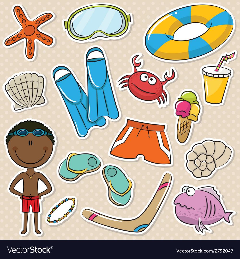 Summer beach rest african-american boy vector | Price: 1 Credit (USD $1)