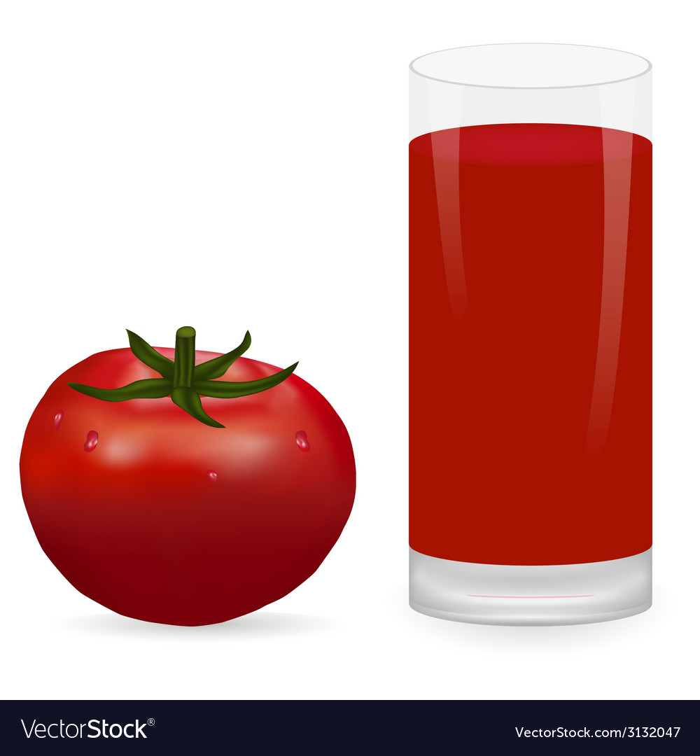 Tomato and glass of tomato juice vector | Price: 1 Credit (USD $1)