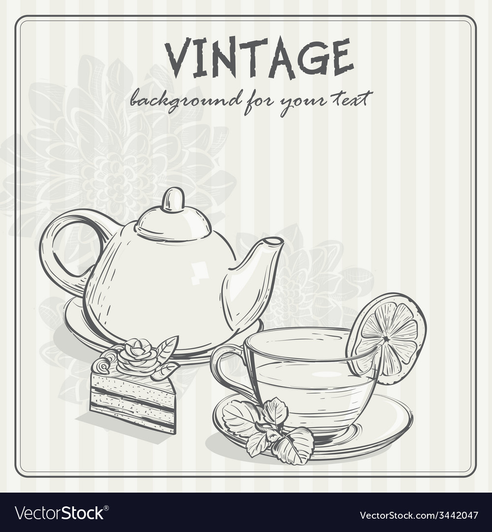 Vintage background with tea and the torus vector | Price: 1 Credit (USD $1)