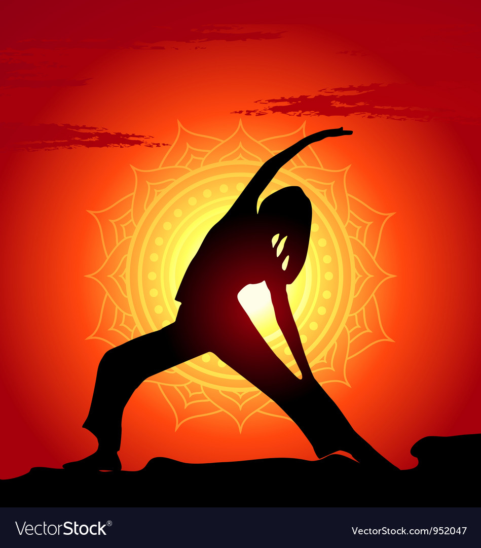 Yoga poses at sunset background vector | Price: 1 Credit (USD $1)