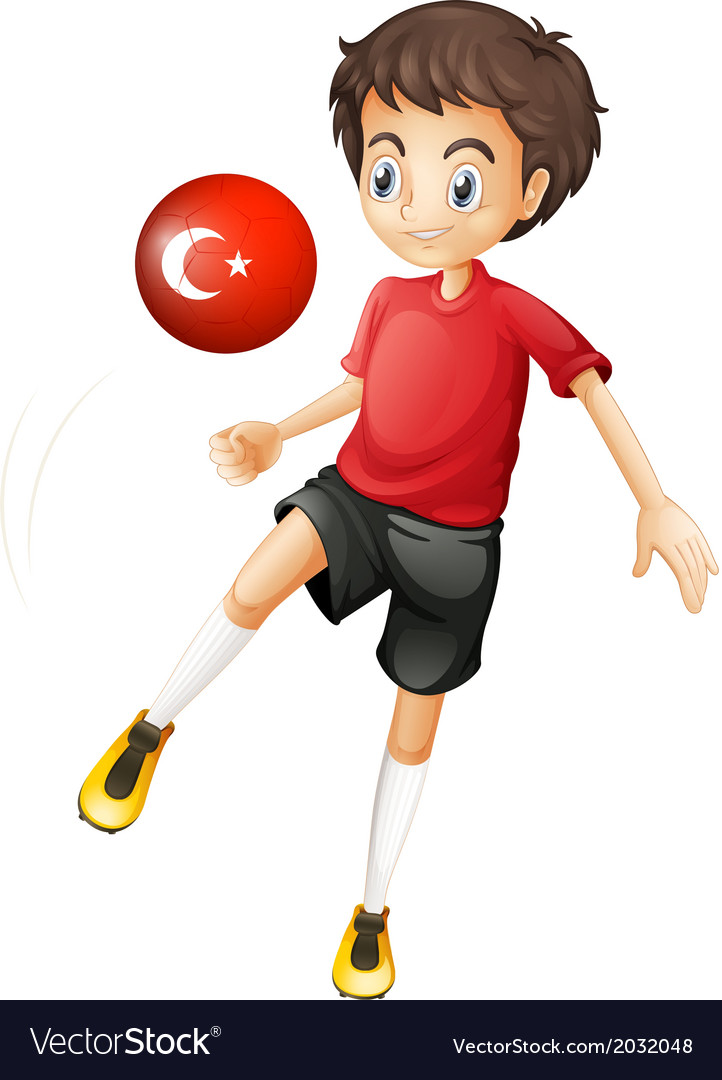 A boy using the ball with the flag of turkey vector | Price: 1 Credit (USD $1)