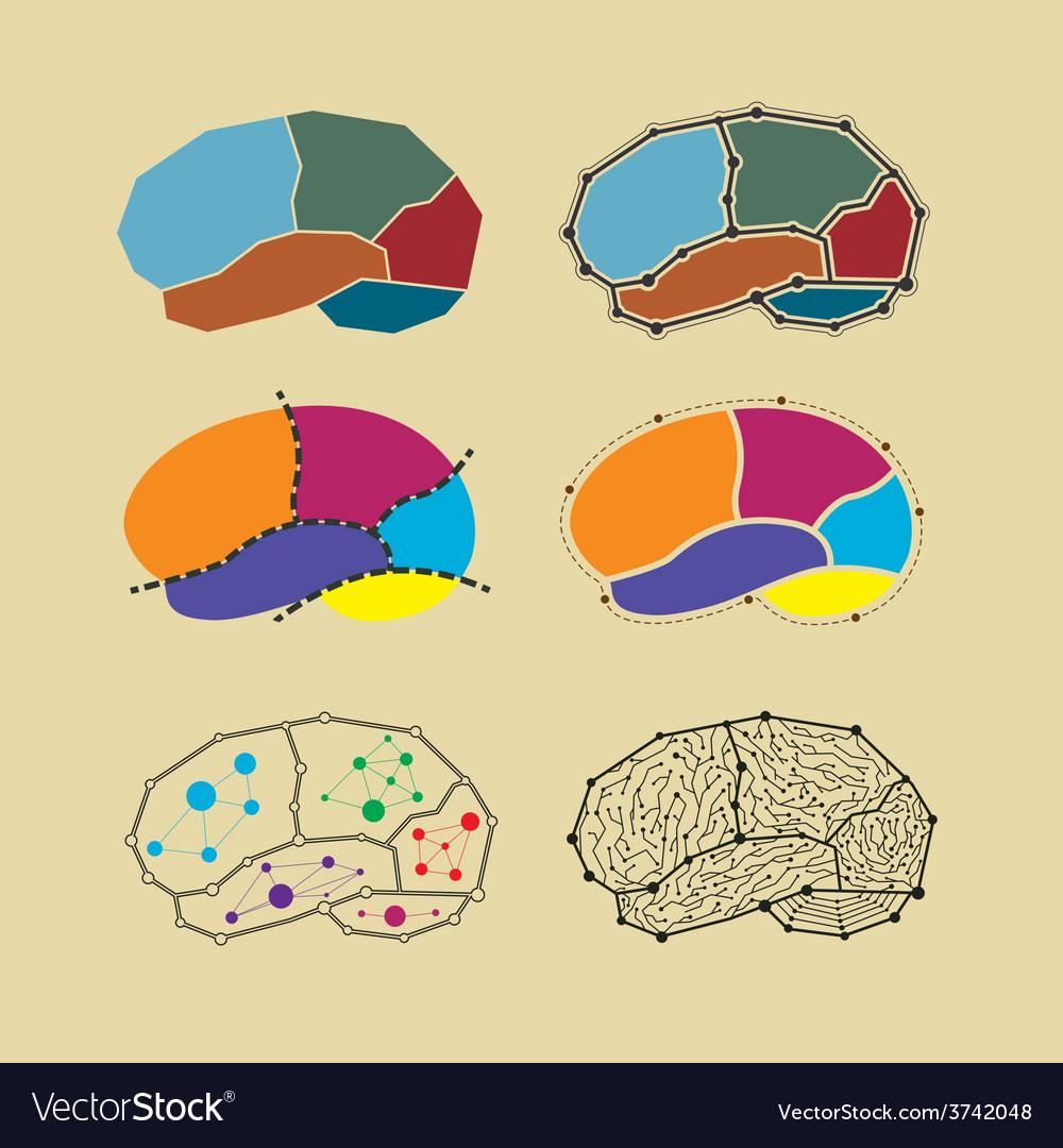 Abstract brain symbol set vector | Price: 1 Credit (USD $1)